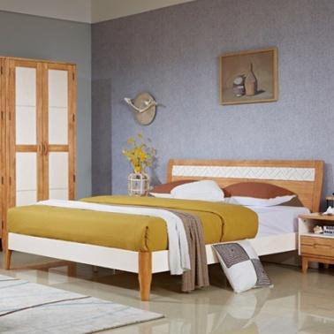 良匠缘.北美风情 H2005# 简约北欧全实木双人床1.8米 卧室家具白色现代婚床