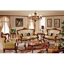 蒙特蒂尼-香槟描金系列/法式风格/客厅/全实木真皮/W912沙发1+2+3组合