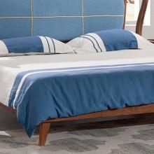 中格家具.新北欧系列/新北欧风格/胡桃色/布艺靠背/5A012实木床 1.8米